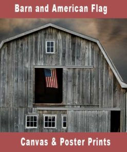 Barn and American Flag Canvas