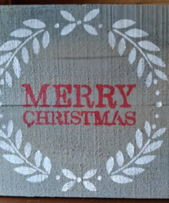 Rustic Handmade Merry Christmas with Wreath | Rustic Wooden Sign
